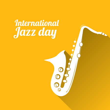famous people: International jazz day vector illustration with saxophone