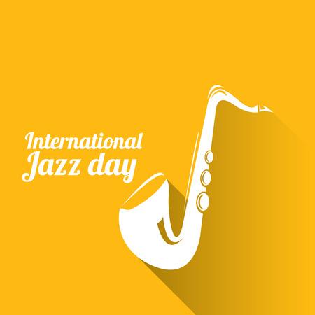 saxof�n: ilustraci�n internacional de jazz del vector del d�a con el saxof�n