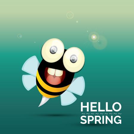 mosca caricatura: Hola Primavera . dibujo animado lindo de la abeja del bebé brillante. ilustración vectorial