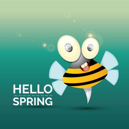 caricatura mosca: Hola Primavera . dibujo animado lindo de la abeja del bebé brillante. ilustración vectorial