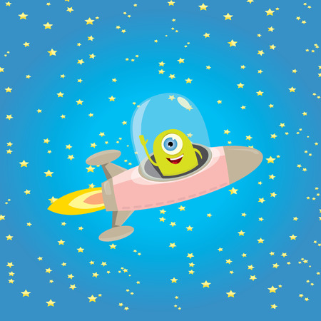 hover: ufo. cute alien vector illustration. flying saucer
