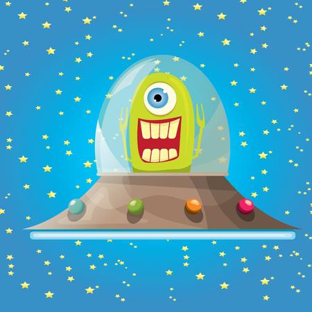 ufo: ufo. cute alien vector illustration. flying saucer