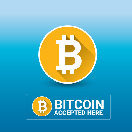 accepted: vector Bitcoin symbol. bitcoin accepted here icon or banner