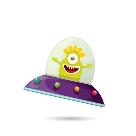 alien cartoon: ufo. cute alien vector illustration. flying saucer