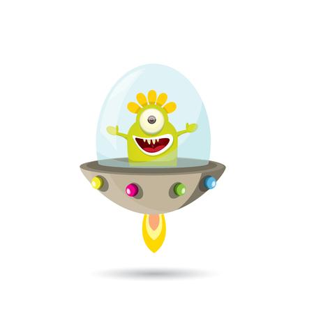 cute alien: ufo. cute alien vector illustration. flying saucer
