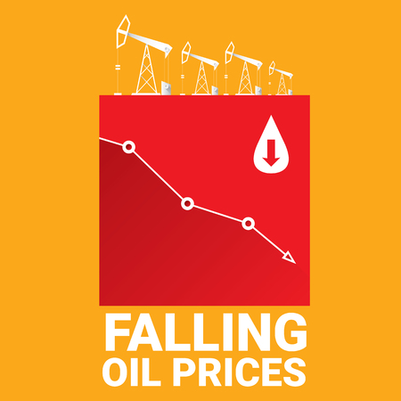brent crude: Oil price falling down graph illustration. vector illustration background