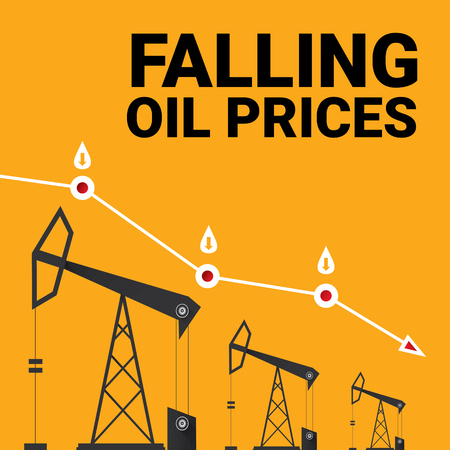 falling down: Oil price falling down graph illustration. vector illustration background