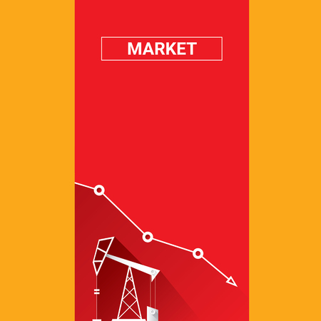 benzene: Oil price falling down graph illustration. vector illustration background