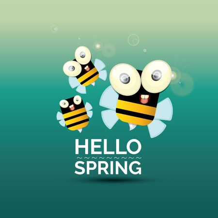 abeja caricatura: Hola Primavera . dibujo animado lindo de la abeja del bebé brillante. ilustración vectorial