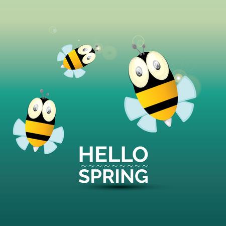 Hello spring . cartoon cute bright baby bee. vector illustration