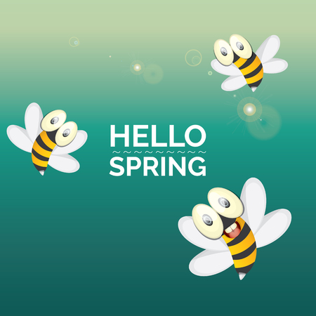 seasons cartoon: Hello spring . cartoon cute bright baby bee. vector illustration