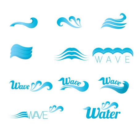 granola: azul de onda elementos de diseño de logotipo. abstracto de la onda del vector Vectores