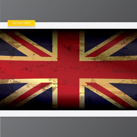 grunge union jack: The United Kingdom or Union Jack grunge old vintage flag. vector UK vintage flag. vector Union Jack flag Illustration