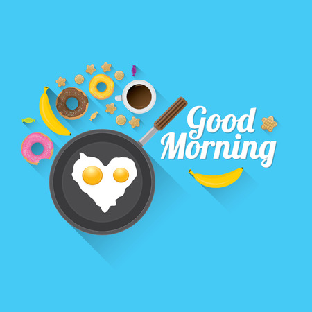 fried food: good morning concept. breakfast fried hen or chicken egg with coffee cup , sweet donuts, cookies, fruits. vector food collage background