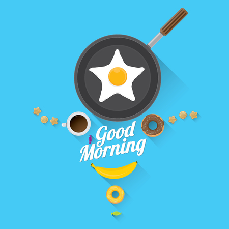 chocolate cookie: good morning concept. breakfast fried hen or chicken egg with coffee cup , sweet donuts, cookies, fruits. vector food collage background