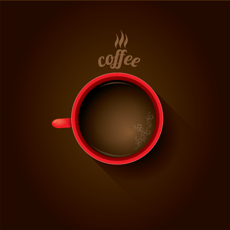 red cup of coffee. flat lay coffee mug top view on brown background
