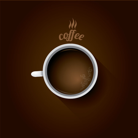 lay: white cup of coffee. flat lay coffee mug  top view on brown background