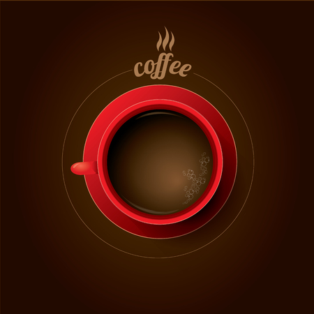 lay: red cup of coffee. flat lay coffee mug  top view on brown background Illustration