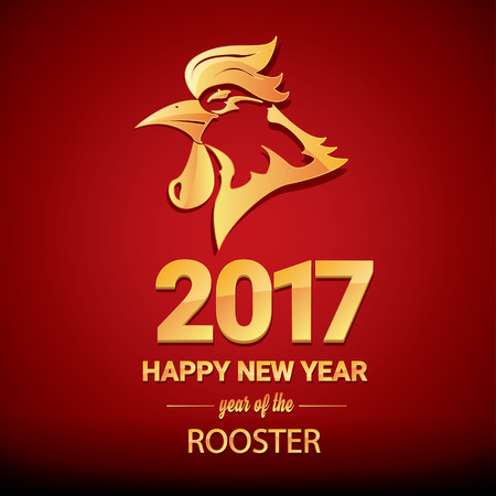 chinese zodiac: Happy Chinese new year 2017 with golden rooster , animal symbol of new year 2017