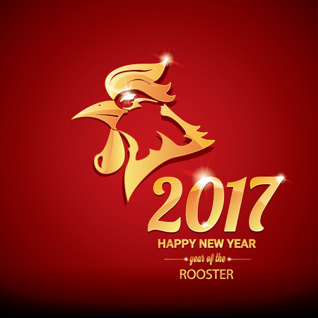 china art: Happy Chinese new year 2017 with golden rooster , animal symbol of new year 2017