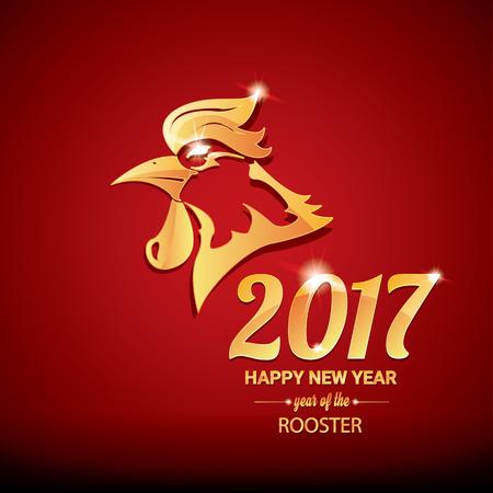 new year: Happy Chinese New Year 2017 ze złotym koguta, symbolu zwierzęcego nowego roku 2017