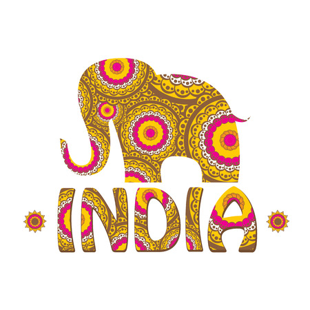 vector indian elephant with color pattern. india travel background Illustration