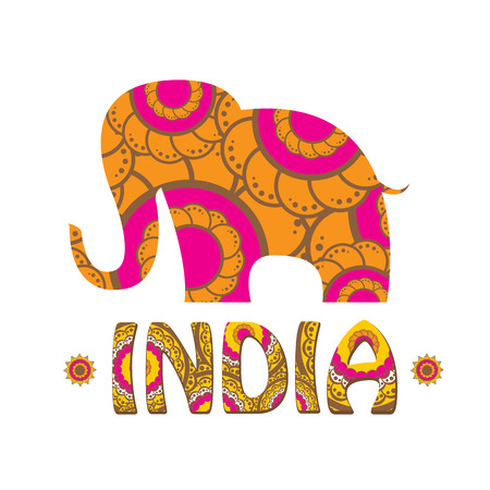 holy place: vector indian elephant with color pattern. india travel background Illustration