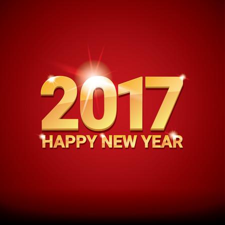 frohes neues jahr: glückliches neues Jahr 2017. frohes neues Jahr 2017 auf kreative rotem Hintergrund