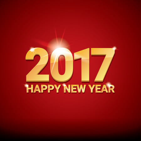 happy new year card: happy new year 2017. happy chinese new year 2017 on creative red background Illustration
