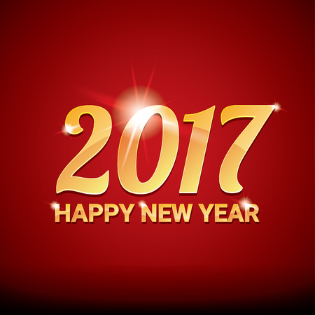 happy new year banner: happy new year 2017. happy chinese new year 2017 on creative red background Illustration