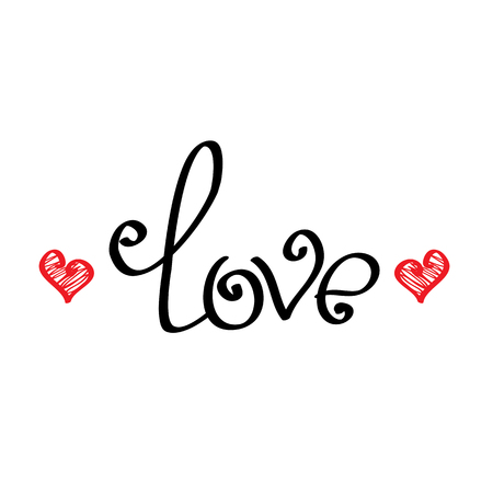 scripts: letters love text doodles, valentines day background Illustration