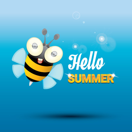 bee party: Hello summer with sunny sky and baby bee flying. kids background with funny cartoons bee