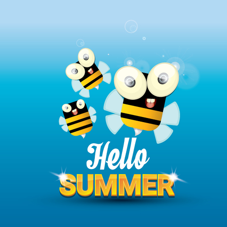 Hello Summer With Sunny Sky And Baby Bee Flying. Kids Background With Funny  Cartoons Bee