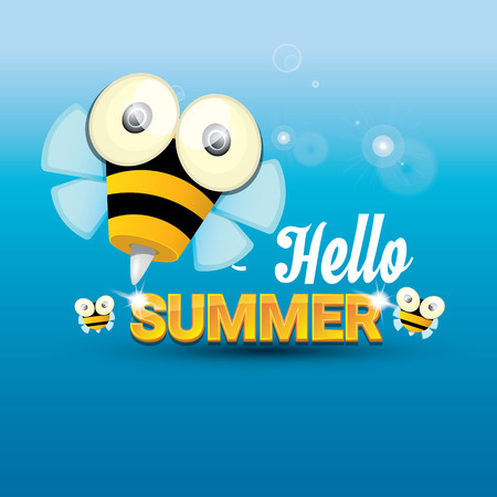 funny baby: Hello summer with sunny sky and baby bee flying. kids background with funny cartoons bee
