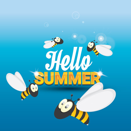 funny baby: Hello summer background with sunny sky and baby bee flying. kids background with funny cartoons bee