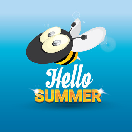 bee party: Hello summer background with sunny sky and baby bee flying. kids background with funny cartoons bee