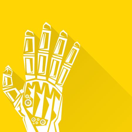 Tecnología limpia del diseño del fondo. vector símbolo brazo robótico. robot de la mano. Ilustración de vector