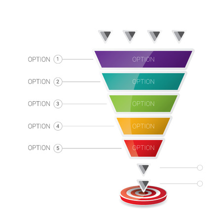 funnel: Vector infographic or web design template . vector sales funnel
