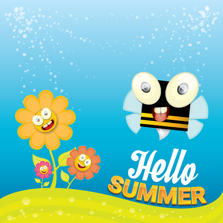 to collect: vector cartoon summer landscape with green grass, flowers and flying insects. Honey bees collect pollen and nectar