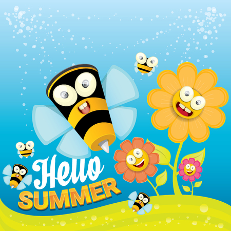nectar: vector cartoon summer landscape with green grass, flowers and flying insects. Honey bees collect pollen and nectar