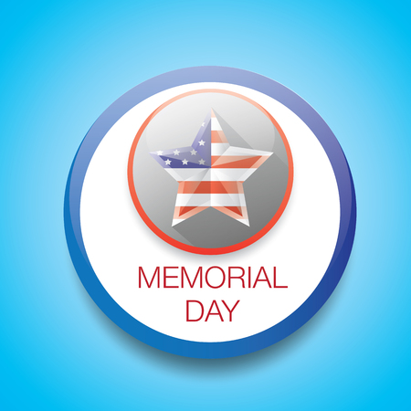 Memorial Day with star in national flag colors. vector illustration