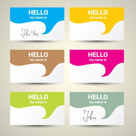 Ciao mi chiamo ... Nome Tag Imposta. Insieme vettoriale Business card Vettoriali