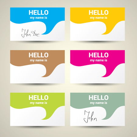Hello My Name Is... Name Tag Set. Vector Business card set Vetores