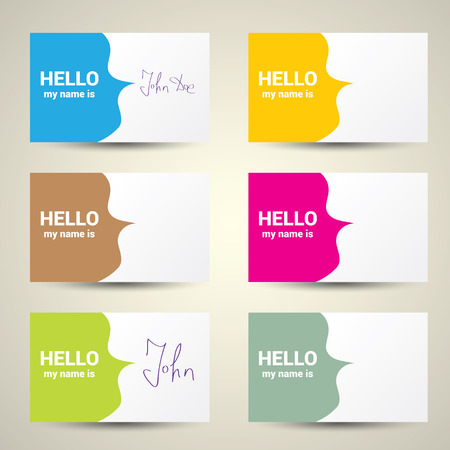 meet and greet: Hello My Name Is... Name Tag Set. Vector Business card set