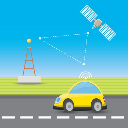 self driving car concept cartoon infographic. autopilot car