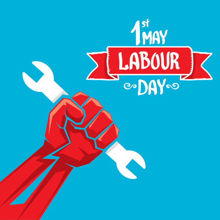 may: 1 may - labour day. labour day poster or workers day Illustration