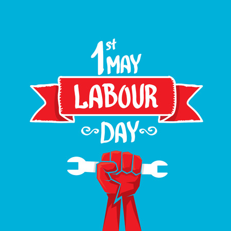 work worker workforce world: 1 may - labour day. labour day poster or workers day Illustration