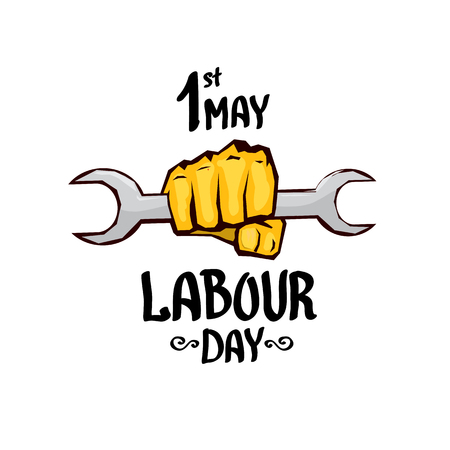 1 may - labour day. vector labour day poster or workers day banner Illusztráció