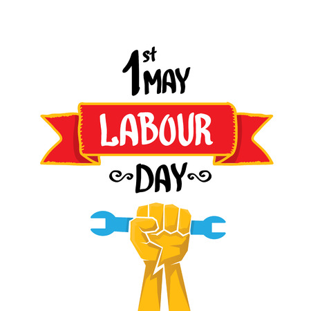 work worker workforce world: 1 may - labour day. vector labour day poster or workers day banner Illustration