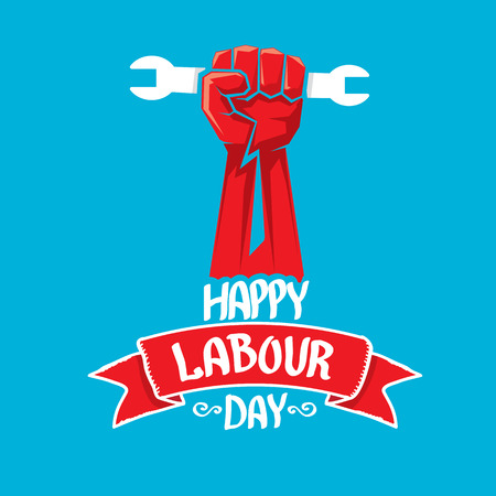 one hand: 1 may - labour day. vector happy labour day poster or workers day banner